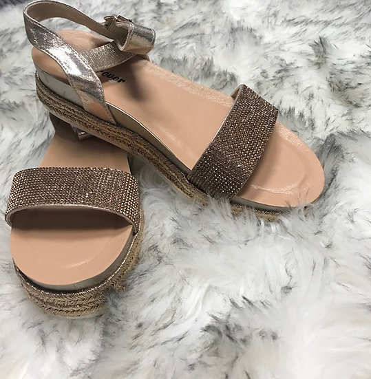 Rose Gold Rhinestone Sandals