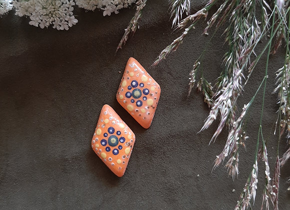 Matte Orange Dotwork Patterned Mandala Cabochon Beads