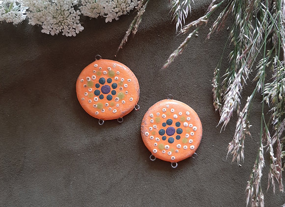Matte Orange Dot Work Mandala Patterned Connector Beads