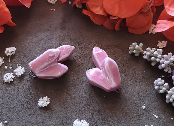 Ceramic Pink Crystal Shaped Pendant Beads