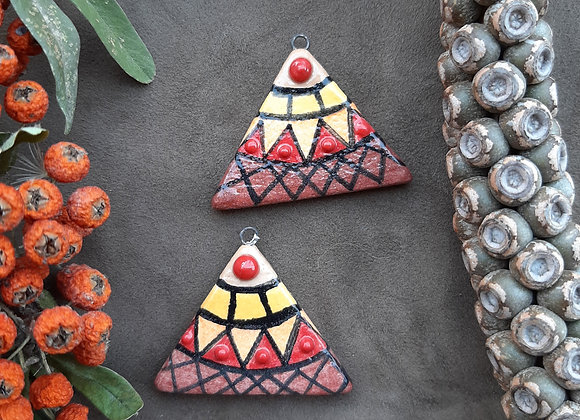 Triangle Shaped Colorful Tribal Patterned Pendant Beads
