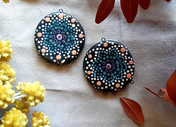 Black Dot Work Mandala Pattern Connector Beads