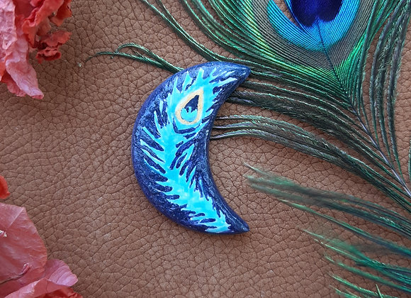 Navy Crescent Peacock Feather Cabochon