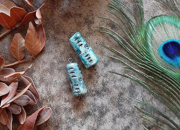 Turquoise Raku Fired Connector Beads