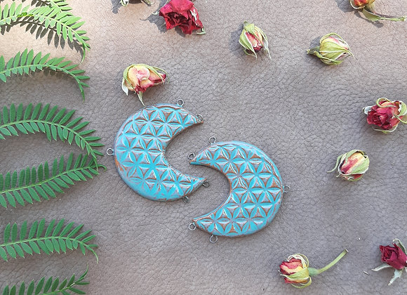Turquoise Crescent Flower of Life Connectors