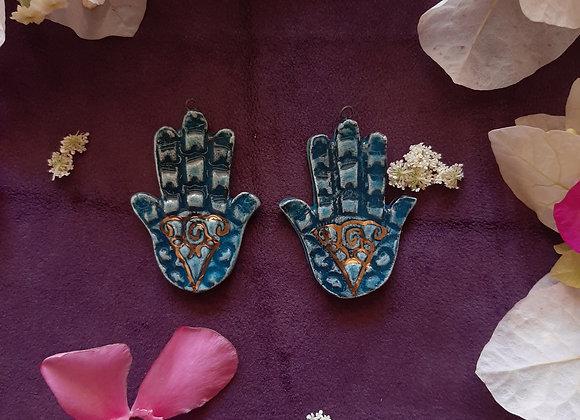 Ceramic Turquoise Hamsa Pendant