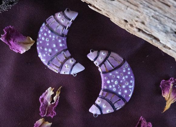 Crescent Purple Tones Connector Beads