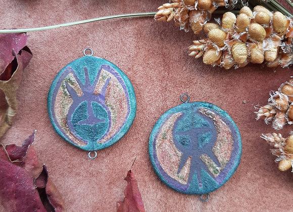 Raku Fired, Sigil Pattern Connector Beads