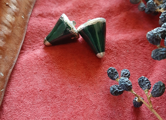 Emerald and Silver Clay Pendelum Beads