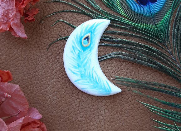 Handpainted Pecock Feather Cabochon