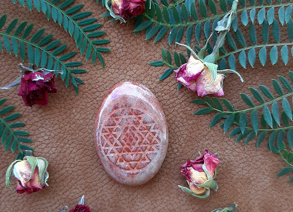 Red Brick and Salmon Sri Yantra Cabochon