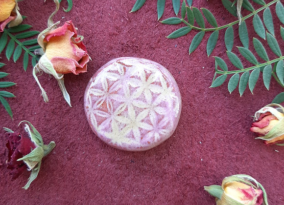 Ceramic Distressed Pink Flower of Life Cabochon