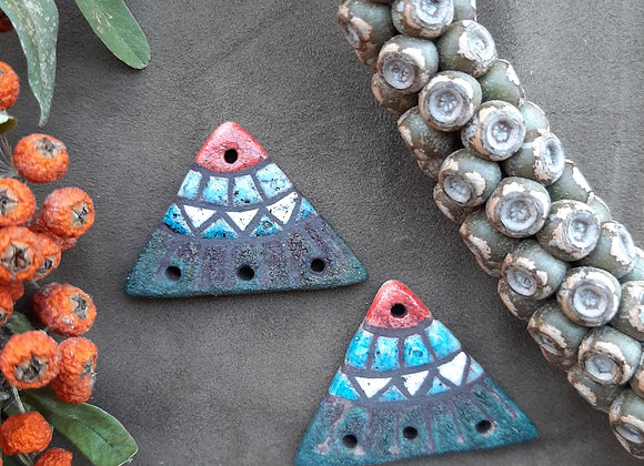 Raku Fired, Tribal Pattern Connector Beads