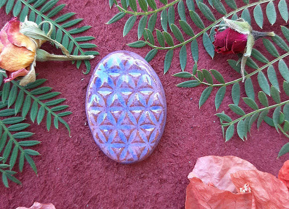 Blue Flower of Life Cabochon
