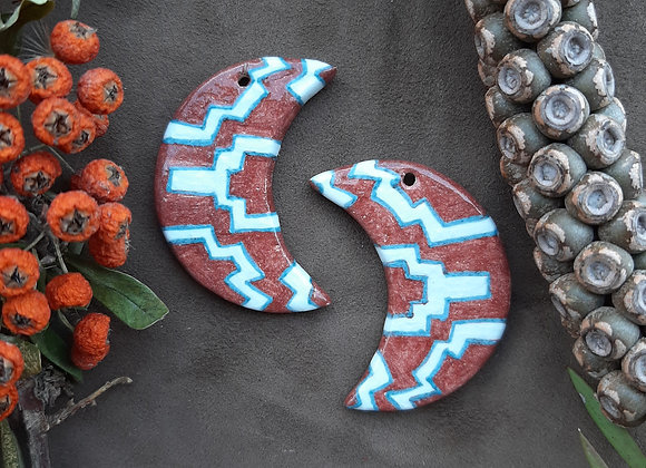 Chocolate Brown Aztec Pattern Crescent Pendant Beads