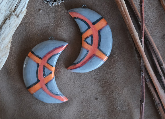 Crescent Grey Pendant Beads