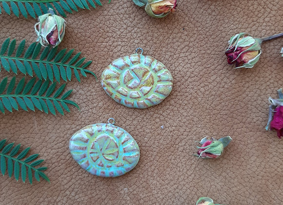 Hand Carved Spiral Pendant Beads