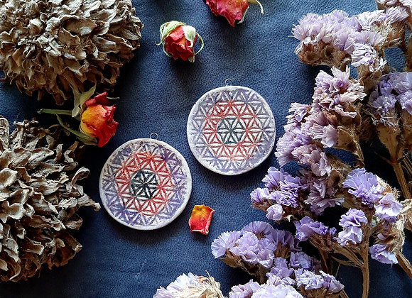 Holographic Effect Flower of Life Pendant Beads