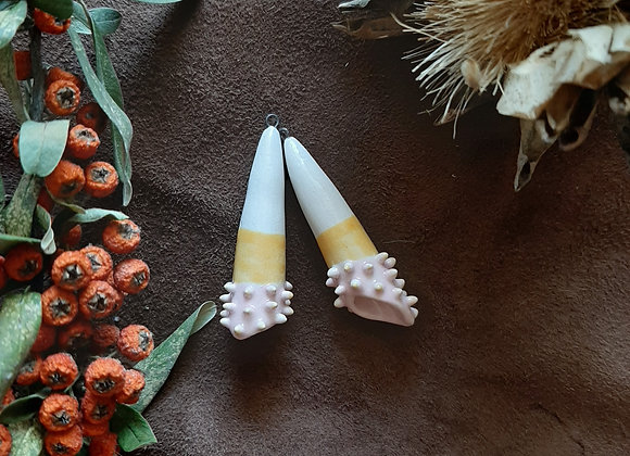 Pastel Yellow and Pink Spike Details at the bottom Cone Beads