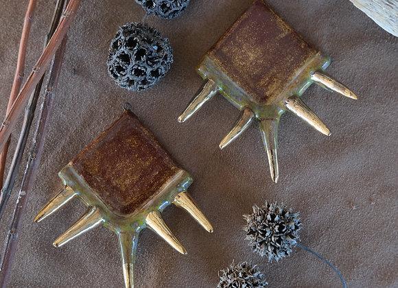 Goddess Pendant Beads with Golden Spikes