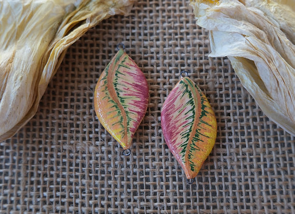 Handpainted Feather Connector Beads