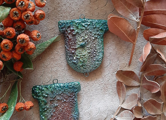 Raku Fired, Textured Degrade Connector Beads