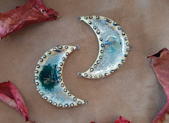 Crescent, Black Spotted, Glass Melted Connector Beads