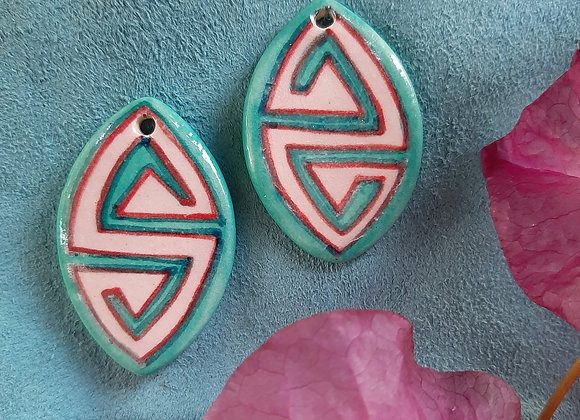 Turquoise Tribal Patterned Pendant Bead