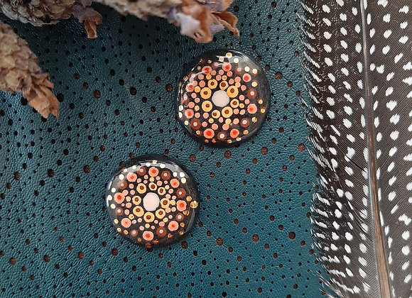 Black Dot Work Mandala Cabochon Beads