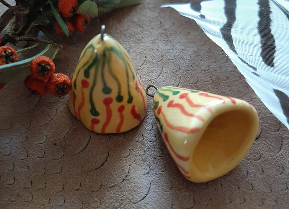 Cone Beads in Canary Yellow with Red and Green Line Decor