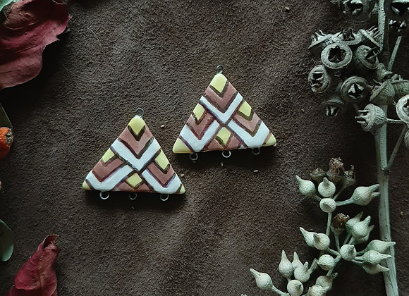 A Pair of Triangle Shaped Three Color Pendant