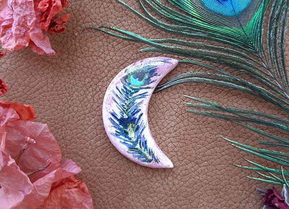 Crescent Peacock Feather Cabochon