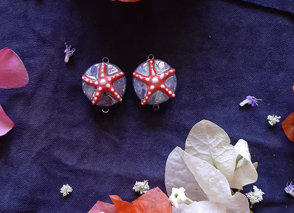 Ceramic Holographic Effect Seastar Connector Beads