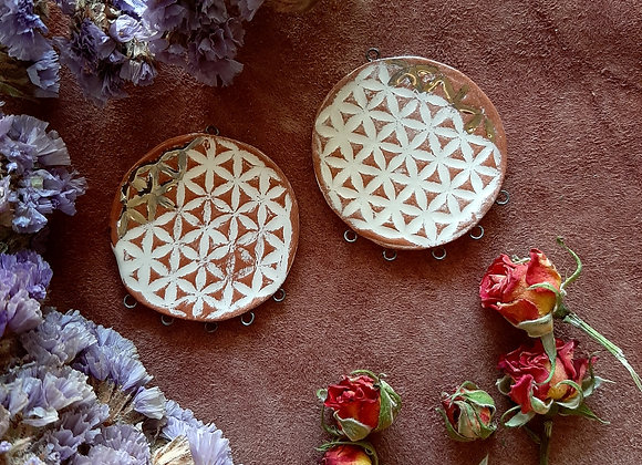 Terracota Flower of Life Connector Beads with 24KGold Details