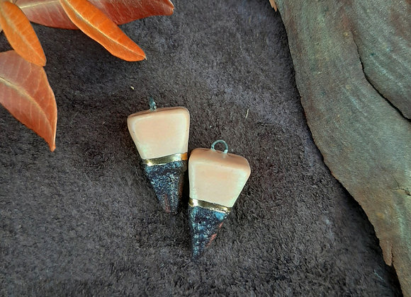 Salmon and Bronze Clay Pendulum Beads