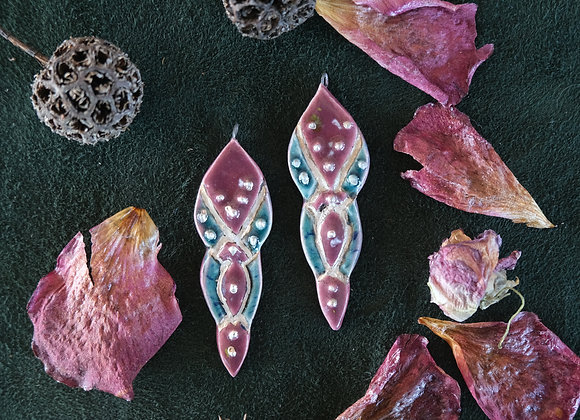 Ceramic Pendant Beads with Silver Lines and Dots