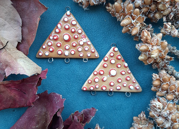 Triangle Shaped Red and White Dotted Latte Color Connector Beads