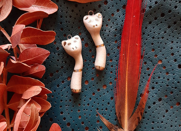 White Cat Pendant Beads with Gold Eyes and Details