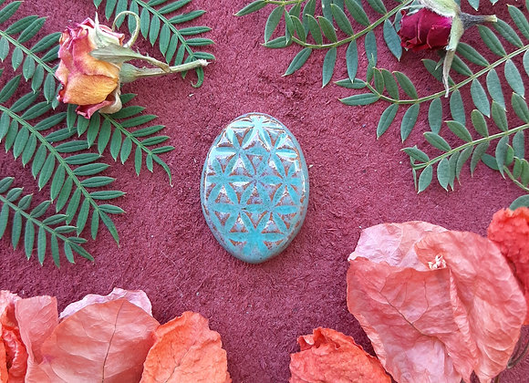 Oval Turquoise Flower of Life Cabochon