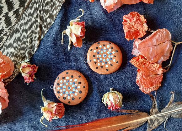 Terracota Dot Work Mandala Pendant Beads