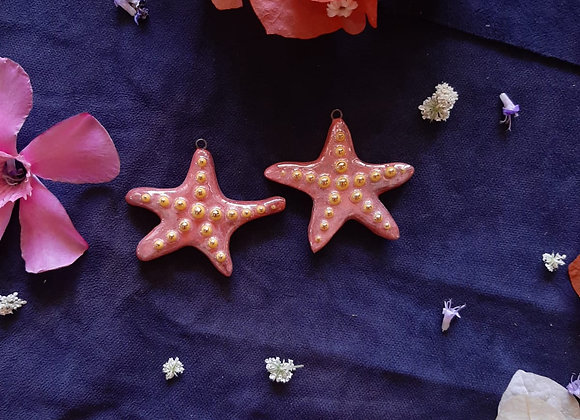 Ceramic Holographic Effect Seastar Pendant Beads
