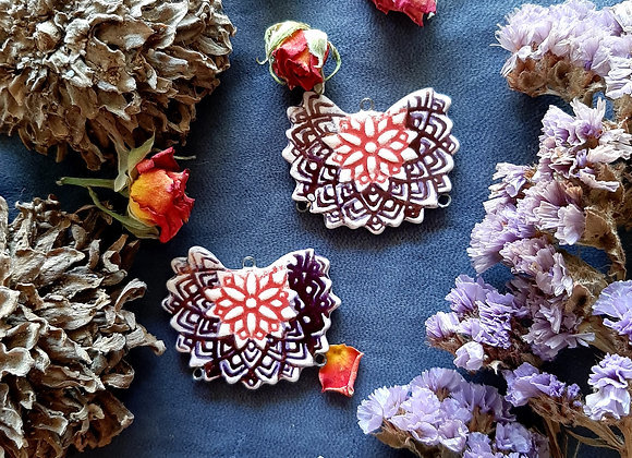 Red and Violet Mandala Connector Beads
