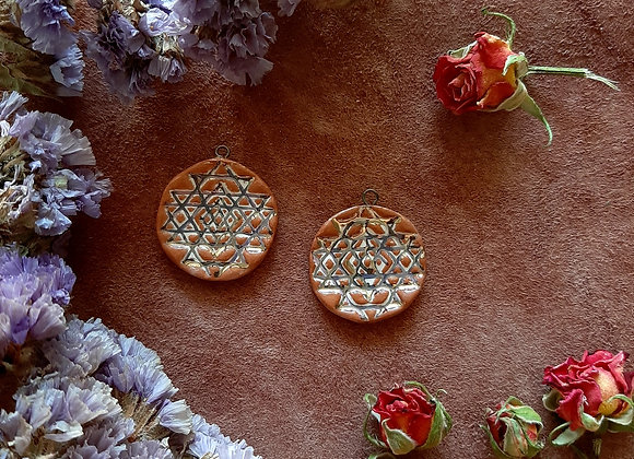 Sri Yantra Pendants with Gold Lines