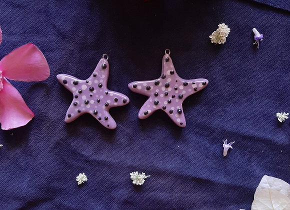 Ceramic Violet Star with Black and White Dots