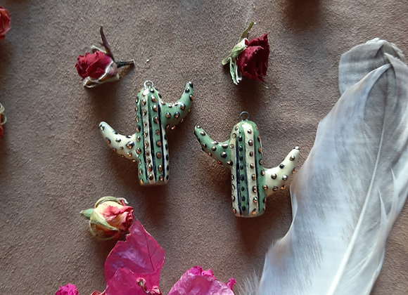 Cactus Pendant Beads with Gold Details