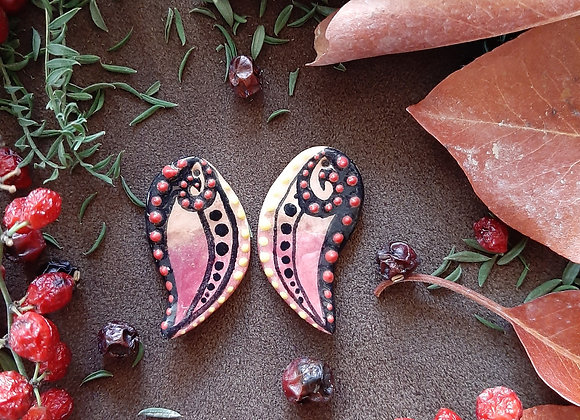 Ceramic Tribal Pendant Beads with Red and Yellow Dots