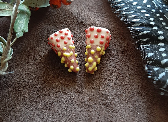 Brown and Salmon, Red and Yellow Dots Pedulum Beads