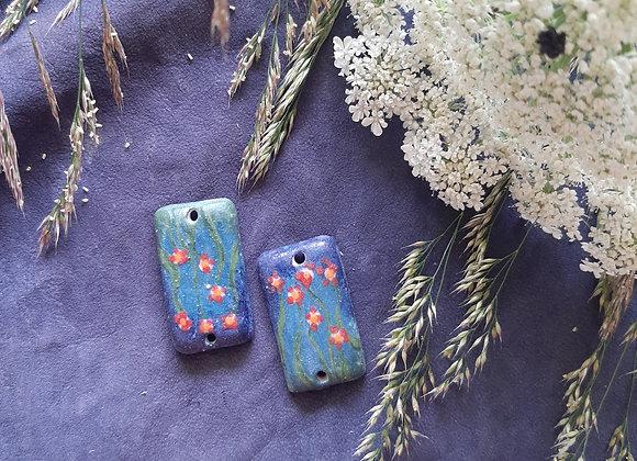 Matte Flower Motif Connector Beads