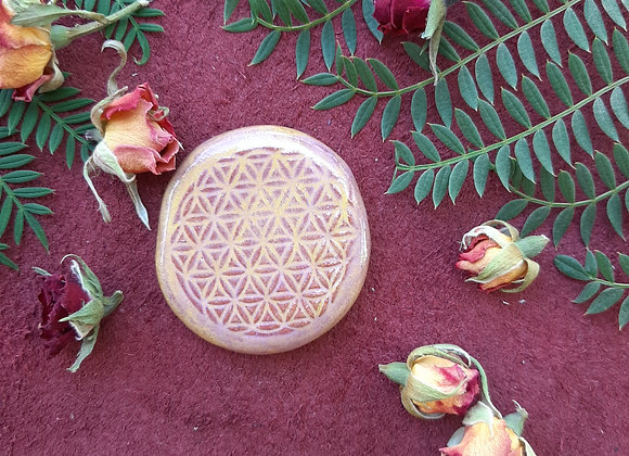 Flower of Life Pink and Yellow Cabochon