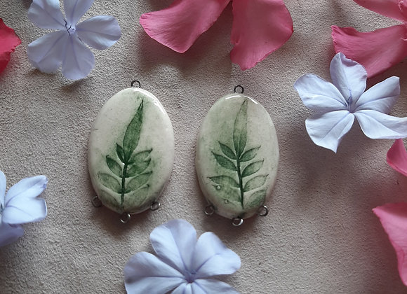 Fern Leaves Engreaved Connector Beads